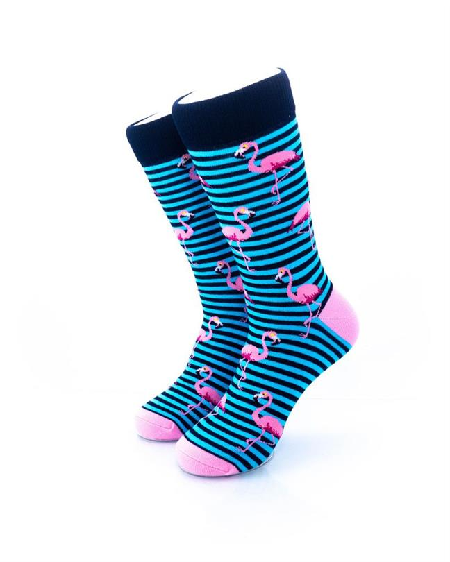 cooldesocks pink flamingos blue stripes crew socks front view