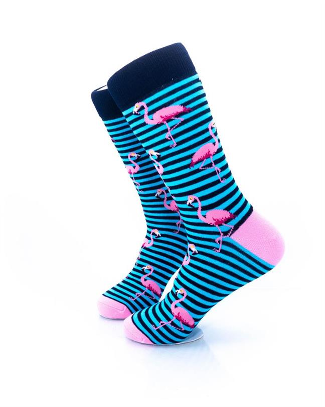 cooldesocks pink flamingos blue stripes crew socks left view