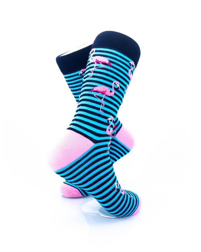 cooldesocks pink flamingos blue stripes crew socks right view