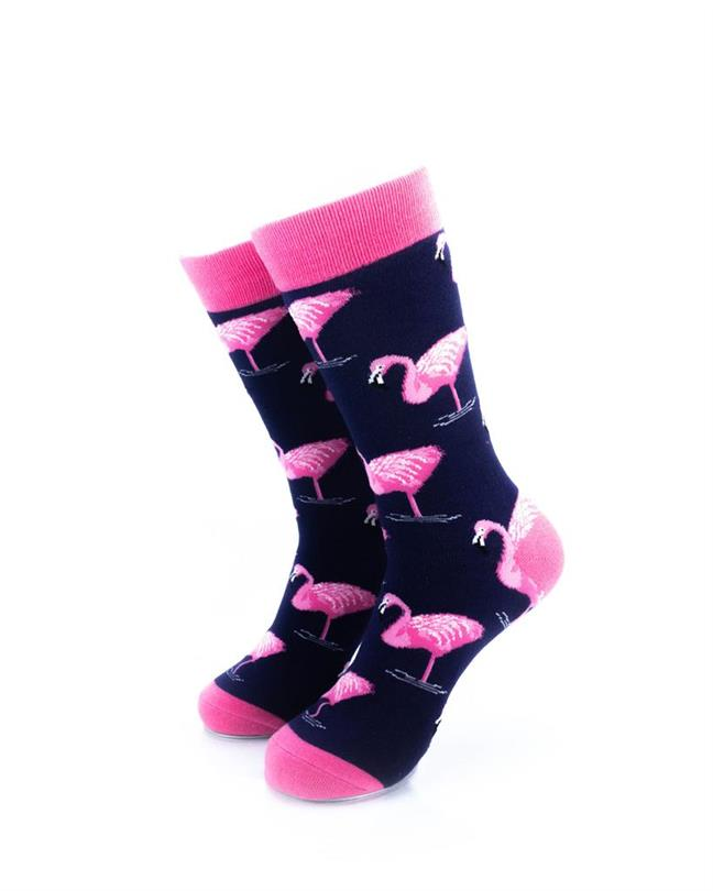 cooldesocks pink flamingos crew socks front view