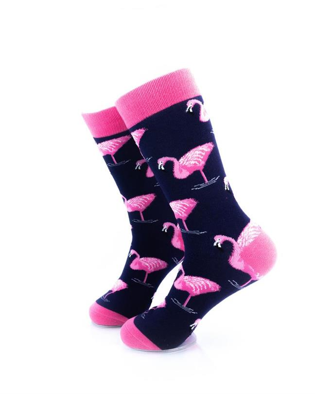 cooldesocks pink flamingos crew socks left view