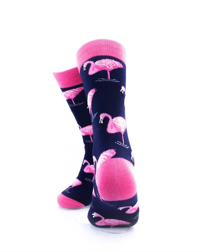 cooldesocks pink flamingos crew socks rear view