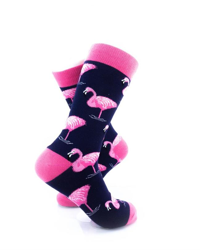 cooldesocks pink flamingos crew socks right view