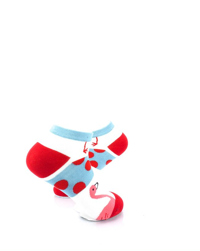 CoolDeSocks Pink Flamingos Dotted Liner Socks right view image