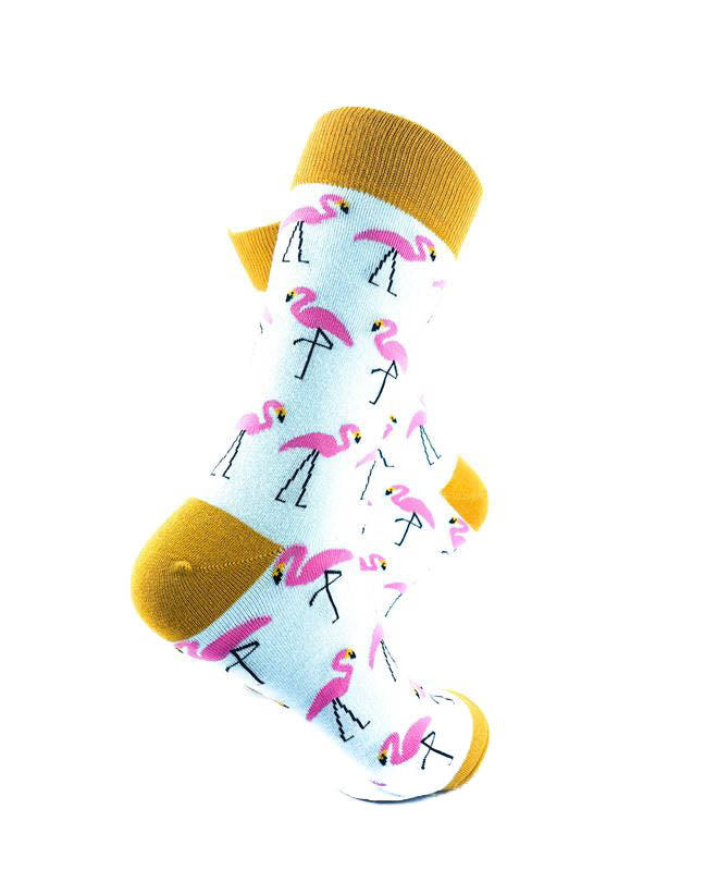 cooldesocks pink flamingos gold crew socks right view image