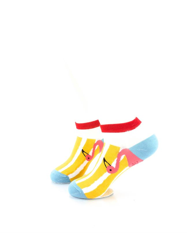 CoolDeSocks Pink Flamingos Peek Liner Socks left view image