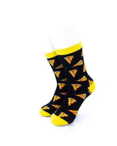 CoolDeSocks Pizza Black Yellow Socks front view image