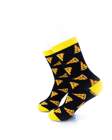 CoolDeSocks Pizza Black Yellow Socks left view image