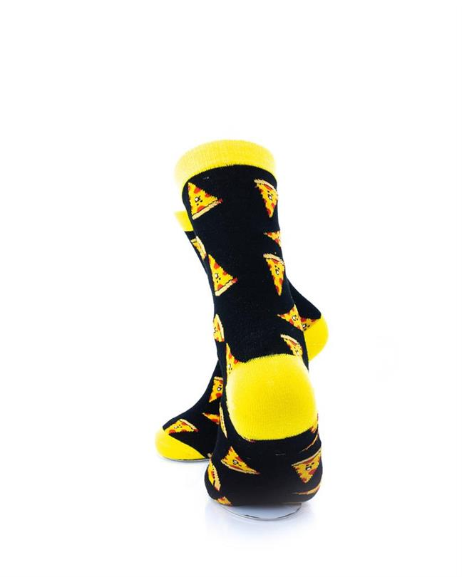 cooldesocks pizza black yellow quarter socks rear view