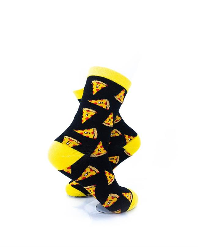 cooldesocks pizza black yellow quarter socks right view