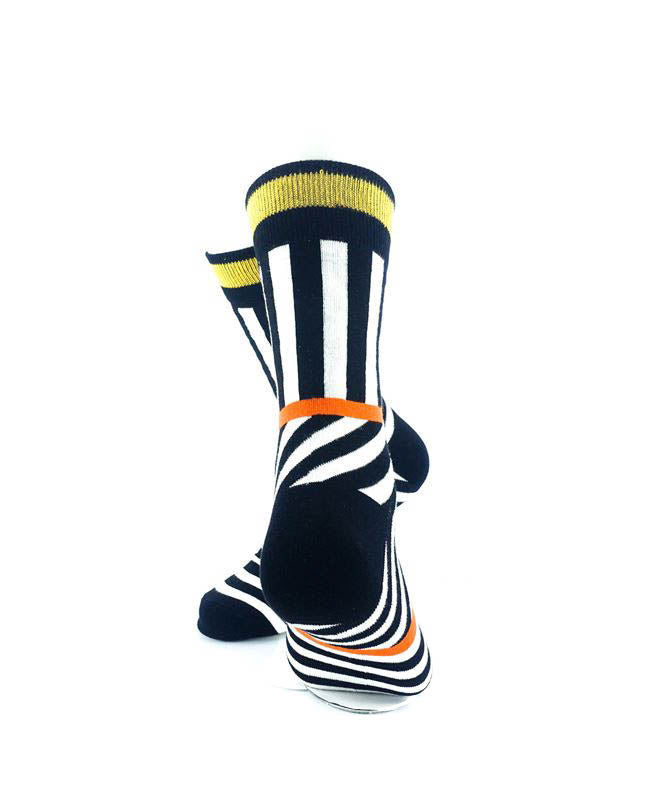 cooldesocks psychedelic bw orange gold crew socks rear view image