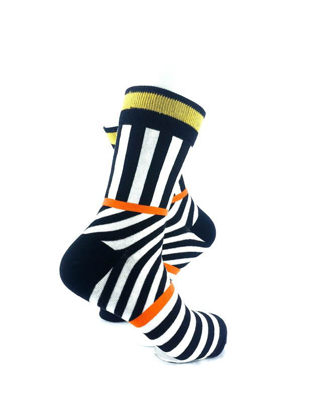 cooldesocks psychedelic bw orange gold crew socks right view image
