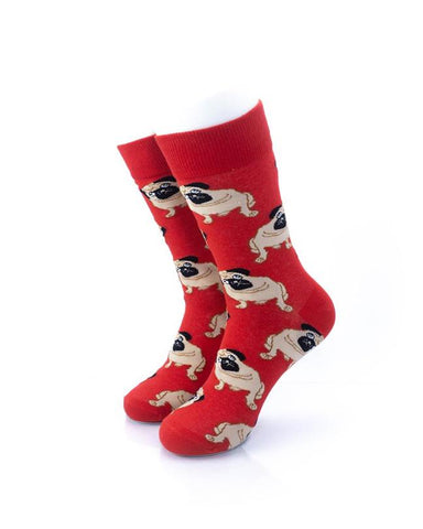 CoolDeSocks Pugs Red Socks front view image