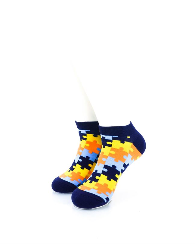 CoolDeSocks Puzzle Blue Ankle Socks front view image