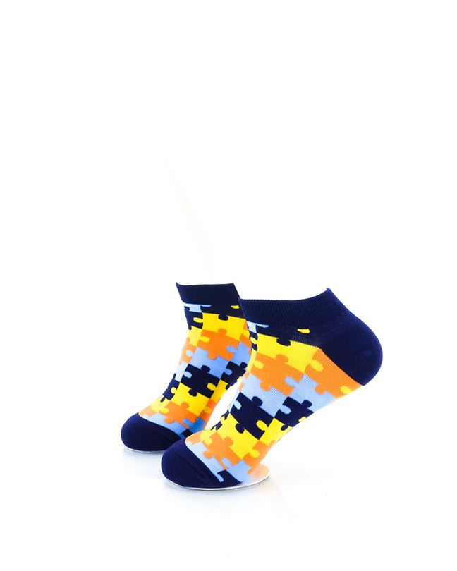 CoolDeSocks Puzzle Blue Ankle Socks left view image