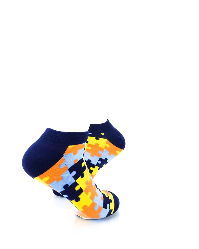 CoolDeSocks Puzzle Blue Ankle Socks right view image