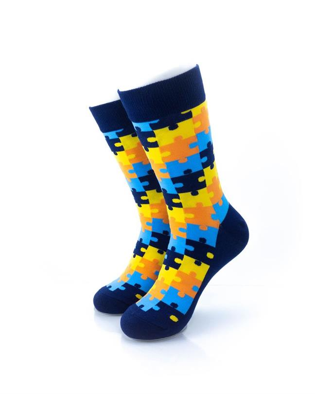 CoolDeSocks Puzzle - Blue Socks front view image