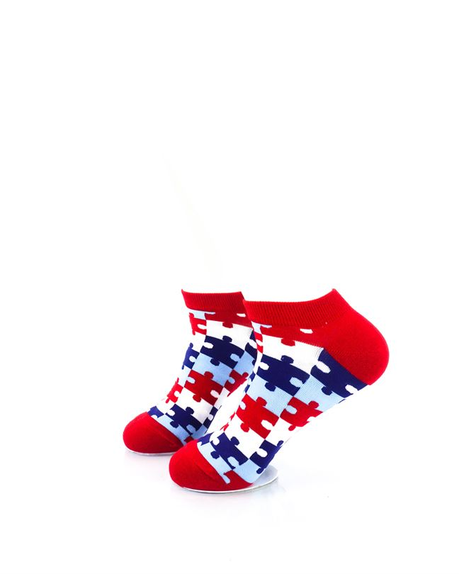 cooldesocks puzzle red ankle socks left view