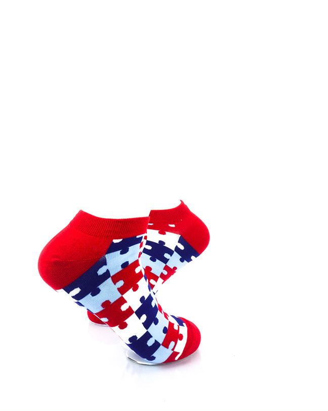 cooldesocks puzzle red ankle socks right view