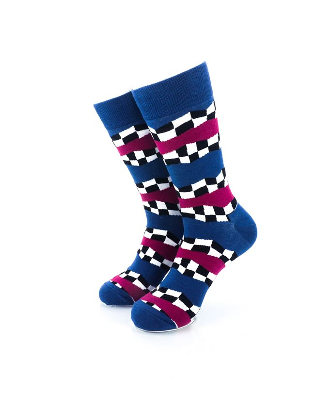 CoolDeSocks Racing Flag - Blue Crew Socks Front View Image