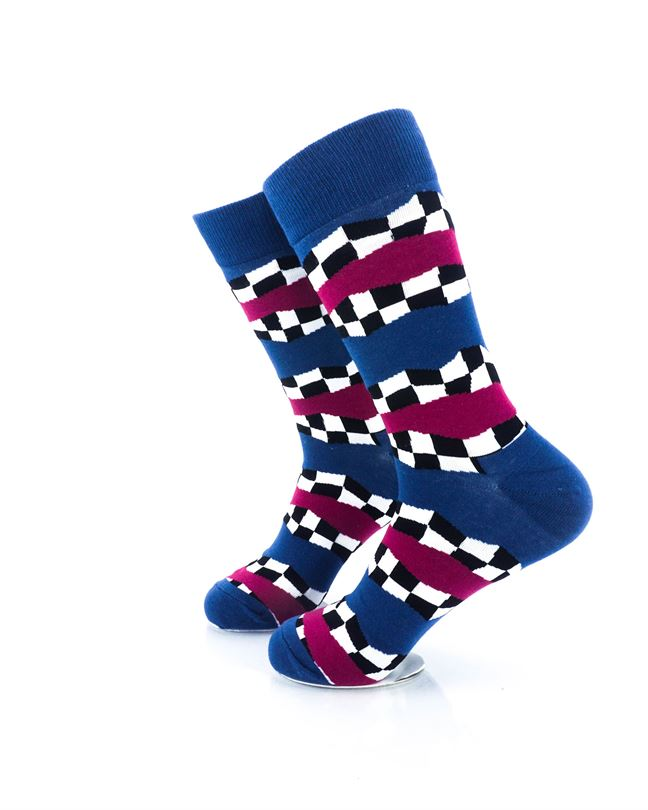CoolDeSocks Racing Flag - Blue Crew Socks Left View Image
