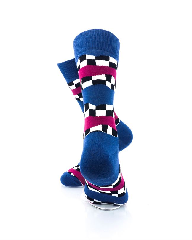 CoolDeSocks Racing Flag - Blue Crew Socks Rear View Image
