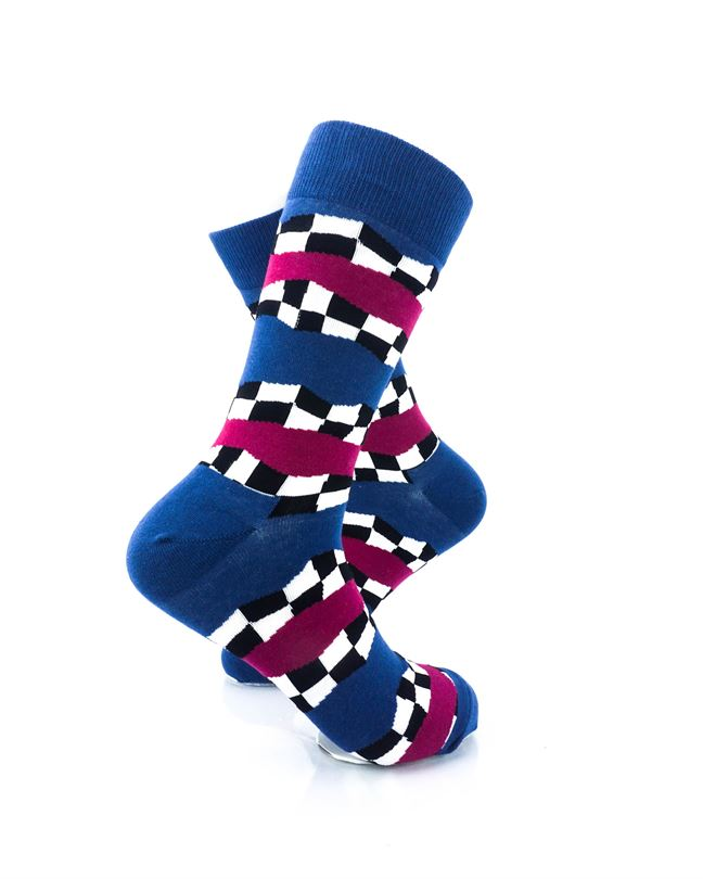 CoolDeSocks Racing Flag - Blue Crew Socks Right View Image