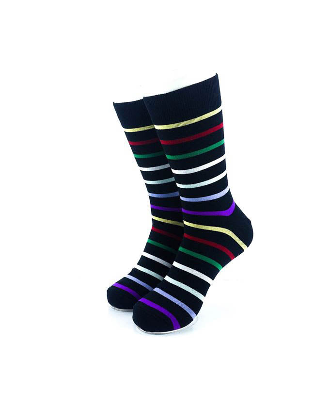 cooldesocks rainbow stripes crew socks front view image