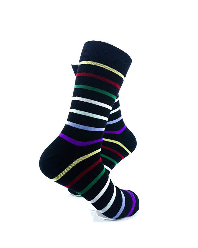 cooldesocks rainbow stripes crew socks right view image
