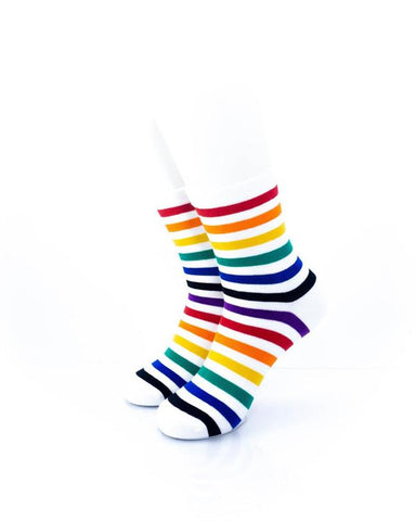 CoolDeSocks Rainbow White Socks front view image