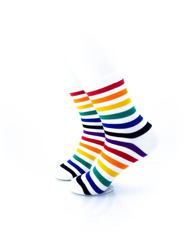 cooldesocks rainbow white quarter socks left view