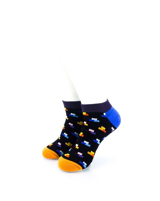 CoolDeSocks Rectangle Mosaic Black Ankle Socks front view image