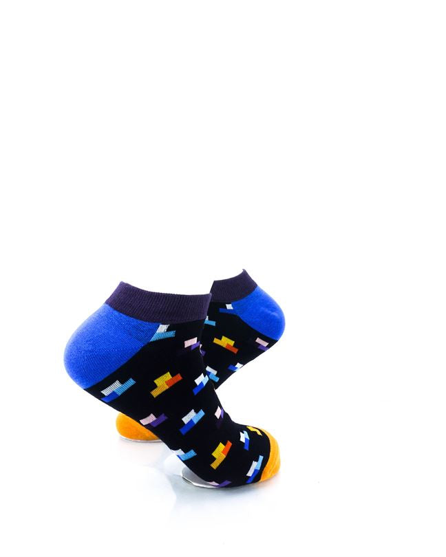 CoolDeSocks Rectangle Mosaic Black Ankle Socks right view image