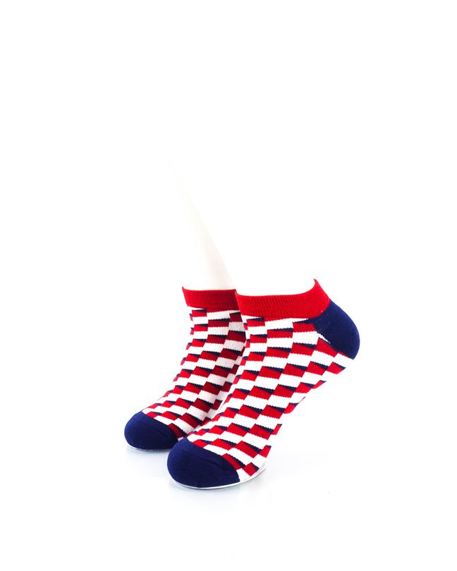 CoolDeSocks Red Blue White Bricks Ankle Socks front view image