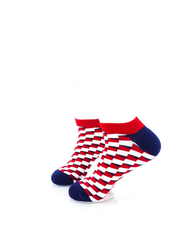 CoolDeSocks Red Blue White Bricks Ankle Socks left view image