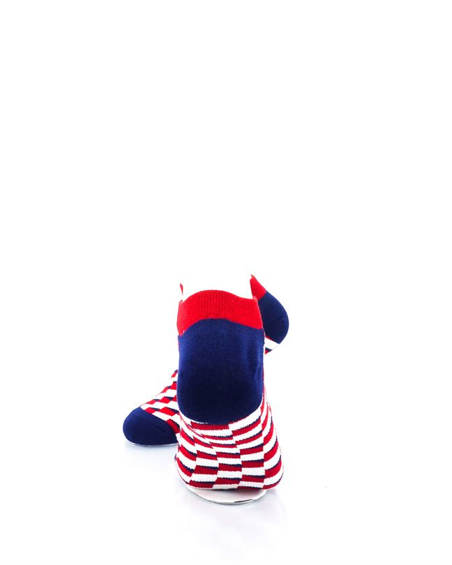 CoolDeSocks Red Blue White Bricks Ankle Socks rear view image