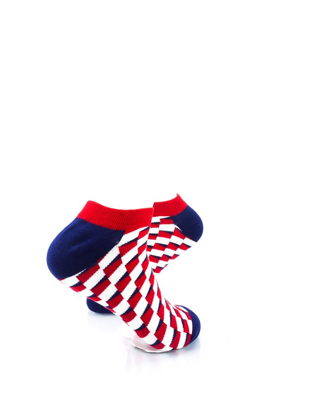 CoolDeSocks Red Blue White Bricks Ankle Socks right view image