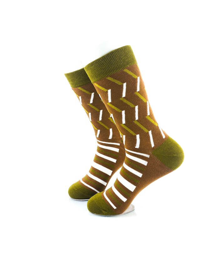 cooldesocks retro pattern brown crew socks left view