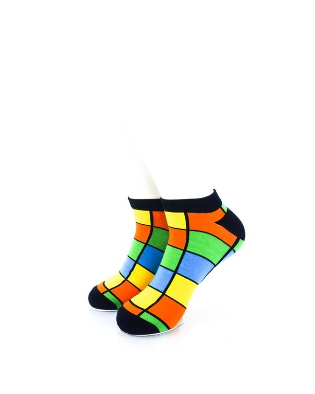 CoolDeSocks Rubik Colorful Ankle Socks front view image