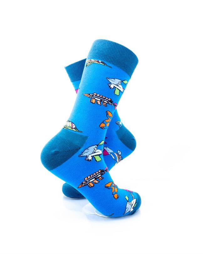CoolDeSocks Sea Fishes Blue Neon Socks right view image