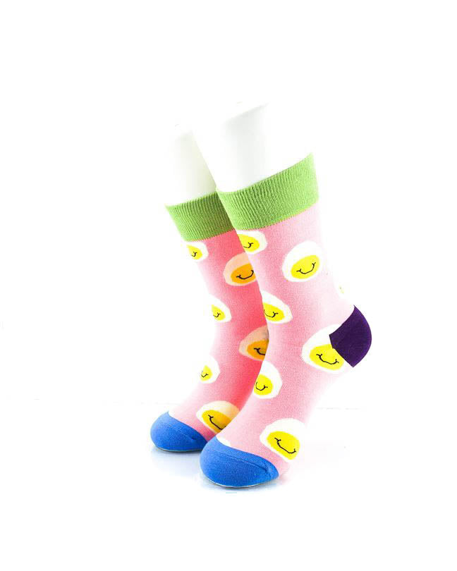 cooldesocks smiley eggs quarter socks front view image