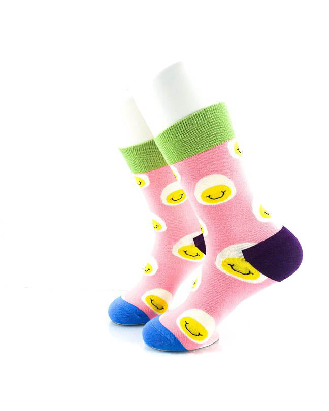 cooldesocks smiley eggs quarter socks left view image