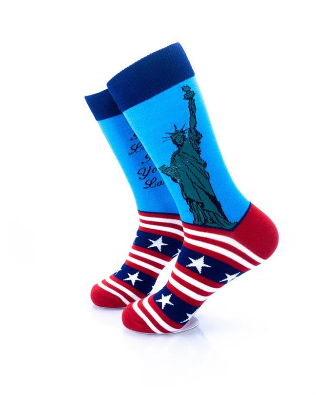 cooldesocks star spangled lady liberty crew socks left view