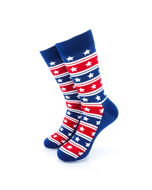 CoolDeSocks Star Spangled Stars Crew Socks front view image