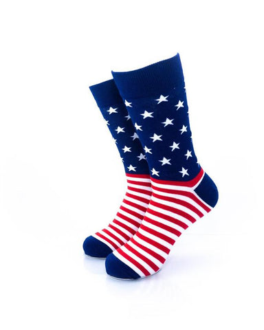 CoolDeSocks Star Spangled Stripes Crew Socks front view image