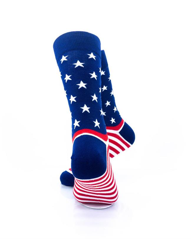 CoolDeSocks Star Spangled Stripes Crew Socks rear view image