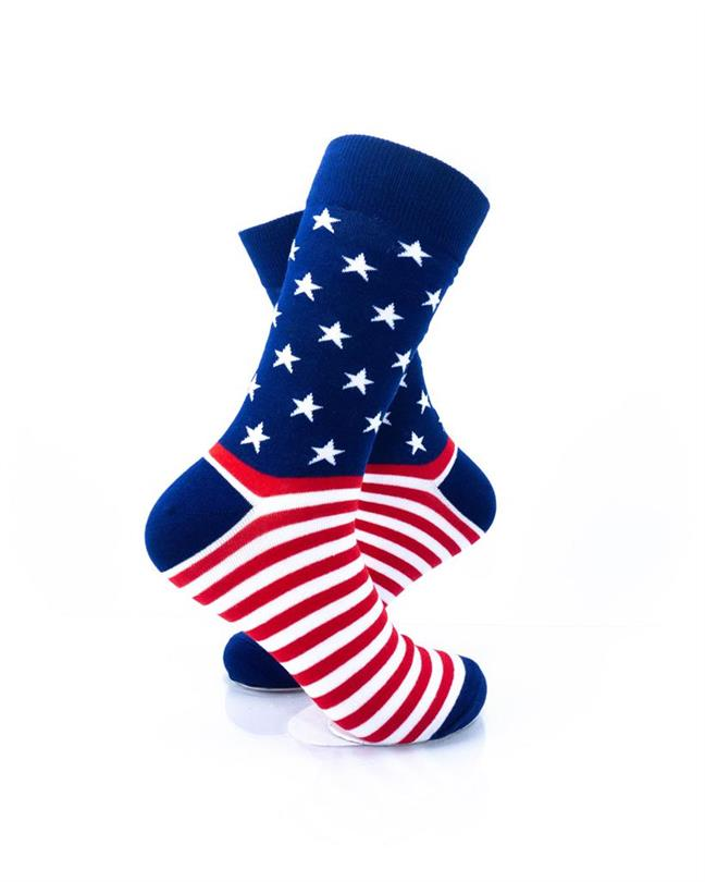 CoolDeSocks Star Spangled Stripes Crew Socks right view image