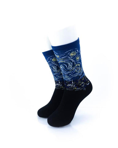 cooldesocks starry night crew socks front view