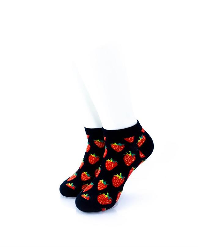 CoolDeSocks Strawberries in Black (A) Socks front view image