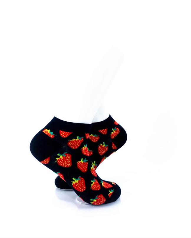 CoolDeSocks Strawberries in Black (A) Socks right view image